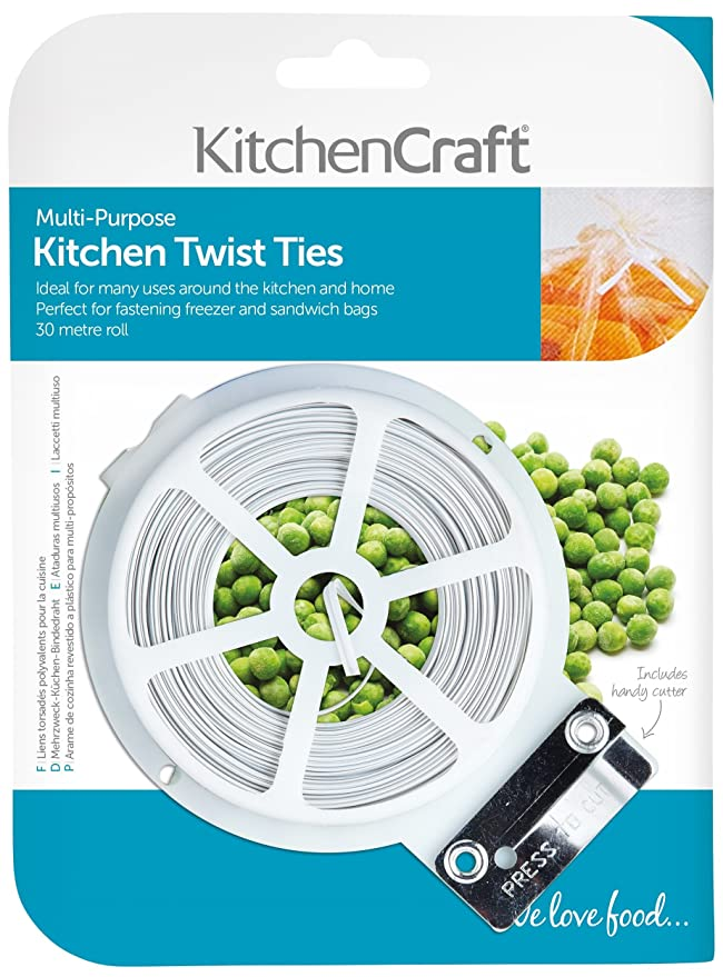 KitchenCraft Plastic-Coated Wire Twist Ties with Dispenser and ...