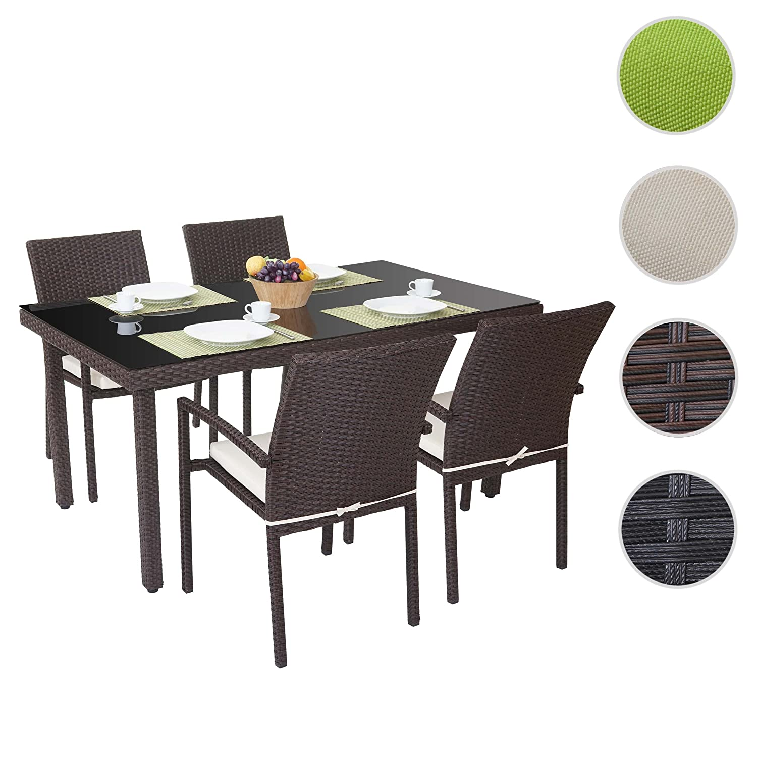 poly rattan garnitur cava garten sitzgruppe 4x stuhl tisch 160x90cm braun kissen creme. Black Bedroom Furniture Sets. Home Design Ideas