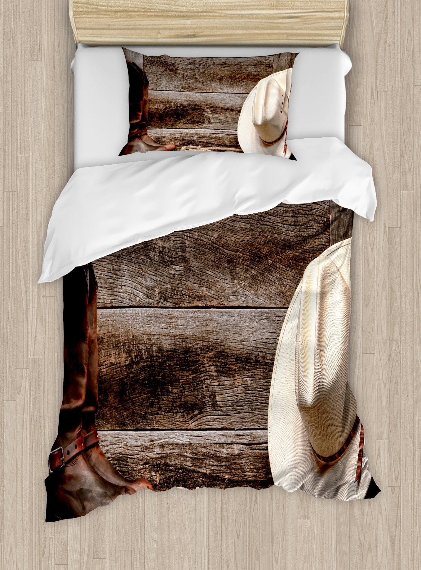 Western Decor Duvet Cover Set by Ambesonne, American West Rodeo White Straw Cowboy Hat with Lariat Leather Boots on Rustic Barn Wood, 2 Piece Bedding Set with 1 Pillow Sham, Twin / Twin XL Size