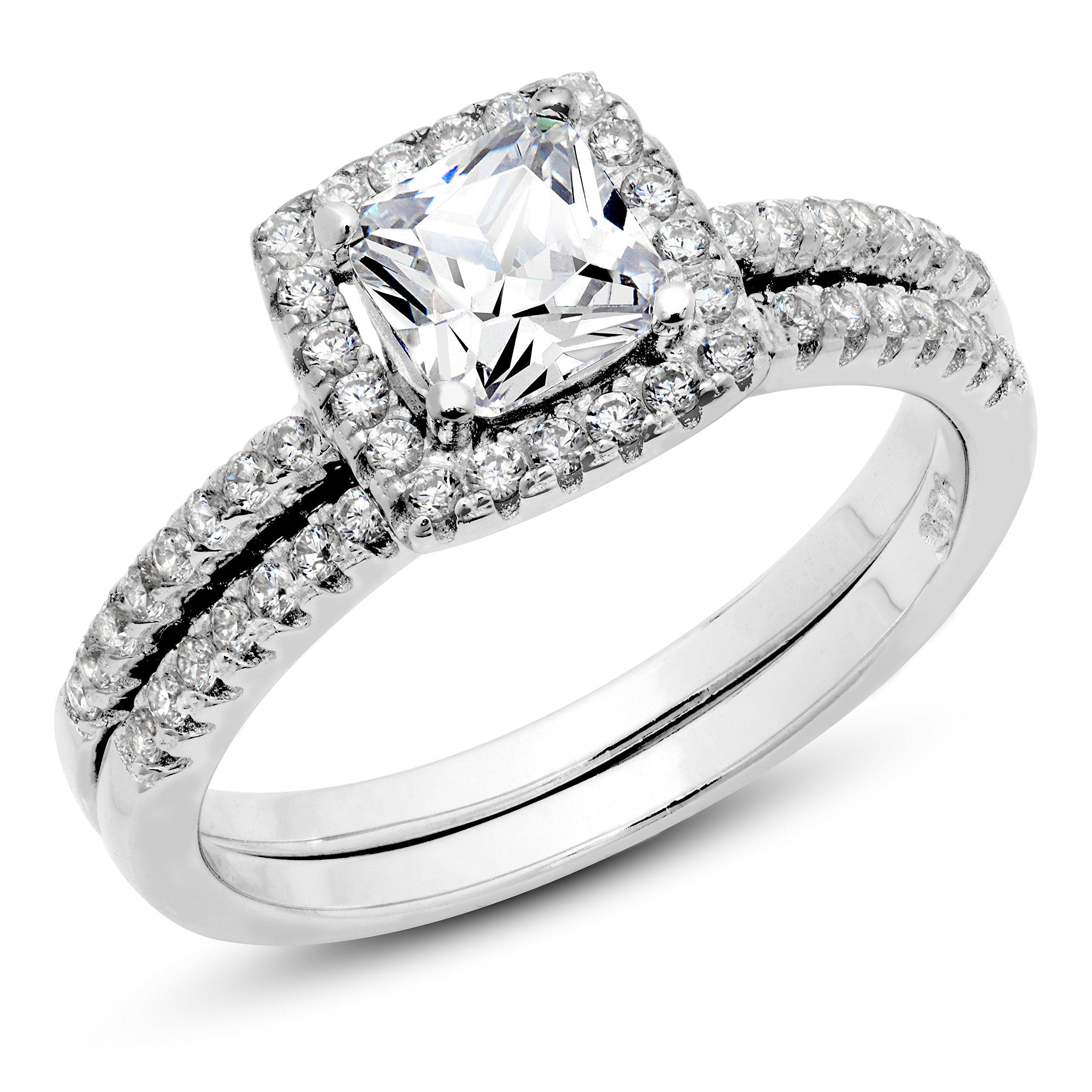 925 Sterling Silver Cushion Cubic Zirconia CZ 2Pc Halo Wedding Engagement Ring Set Sz 10