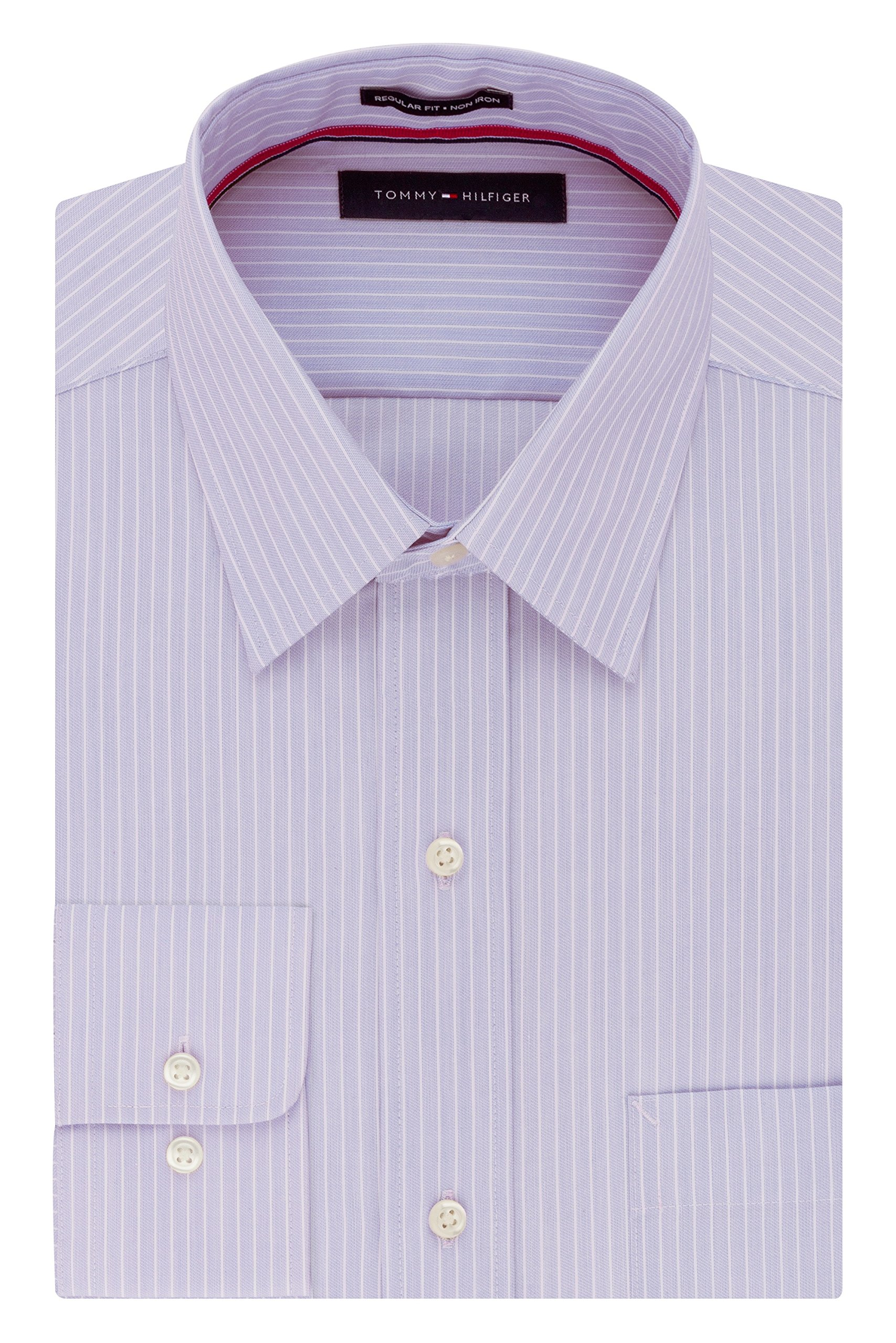Tommy Hilfiger Men's Pinpoint Regular Fit Solid Button Down Collar Dress Shirt, 15'' Neck 34''-35'' Sleeve, Wild Orchid by Tommy Hilfiger