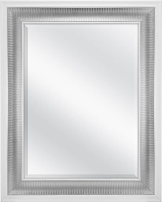 Amazon Com Mcs 18x24 Inch Beveled Wall Mirror White And Woven Silver Finish 24 5 X 30 5 Inch Home Kitchen