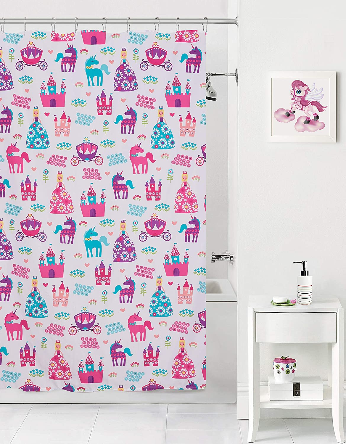 Mainstay Kids Pretty Princess, Floral, Castle, Unicorns and Hearts Reversible Bedding Twin Comforter for Girls (5 Piece in a Bag) (Shower Curtain)
