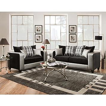 Amazon Com Sofa Trendz Mallory Steel Faux Leather Sofa And Loveseat