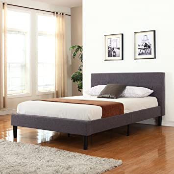 deluxe tufted grey platform bed frame with wooden slats full