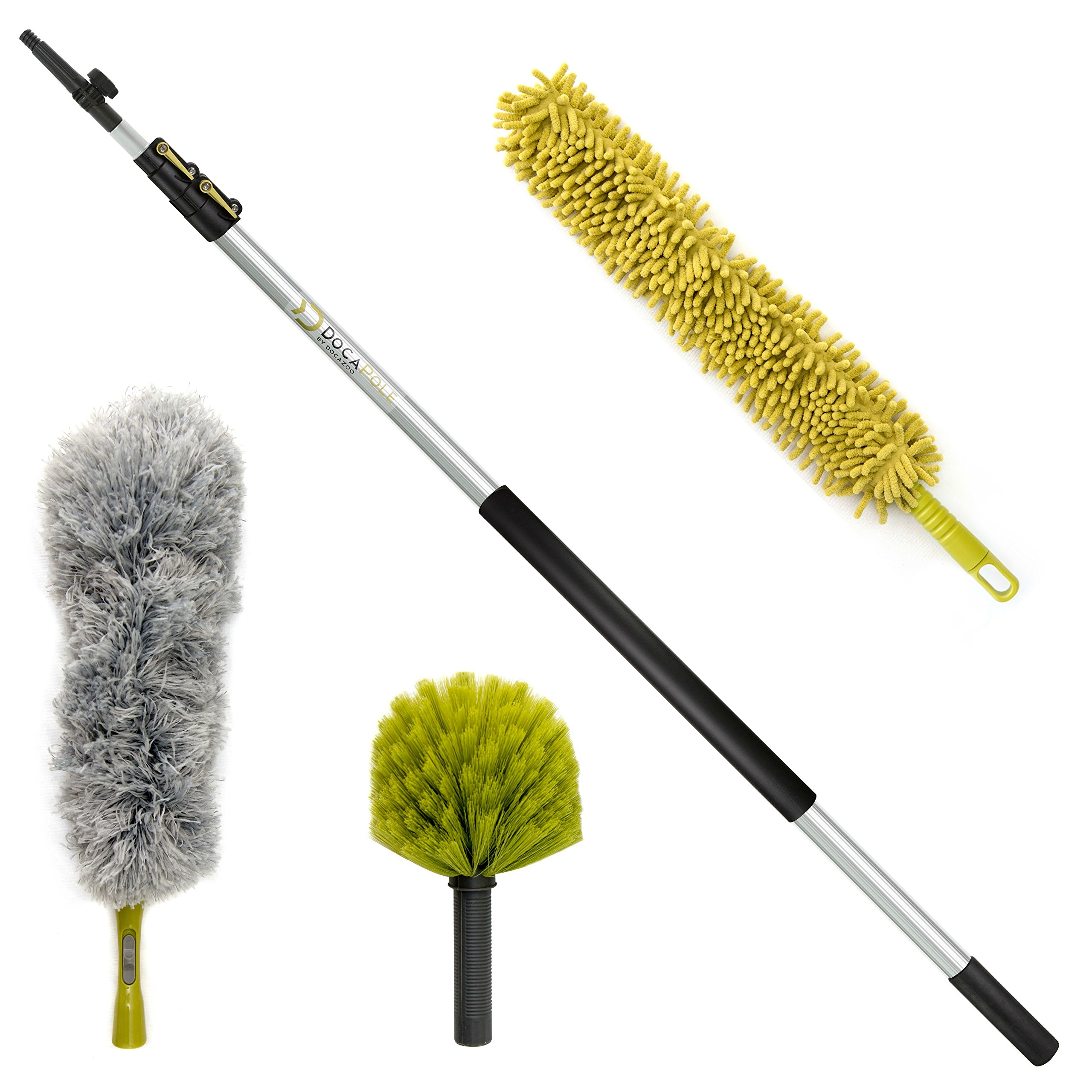 DocaPole 20 Foot High Reach Dusting Kit with 5-12 Foot Extension Pole // Cleaning Kit Includes 3 Dusting Attachments // Cobweb Duster // Microfiber Duster // Ceiling Fan Duster