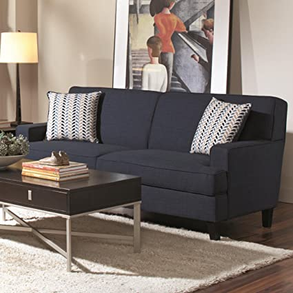 amazon com coaster finley transitional blue sofa with track arms