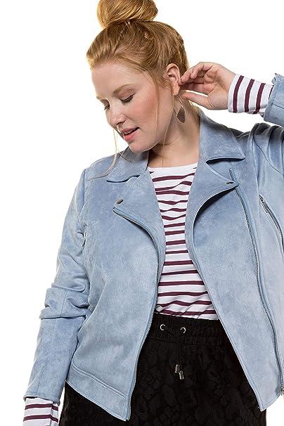 4086ee7dd789 Studio Untold Women's Plus Size Suede Look Biker Jacket Light Blue 16  719581 77-42