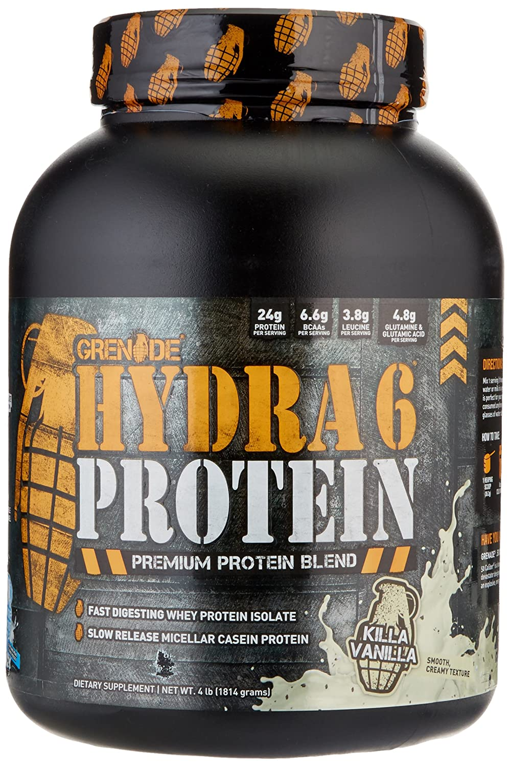 Grenade Hydra 6, 50% Whey Isolate and 50% Casein. The World's First Ultra Premium Slow/Fast Protein Blend, Killer Vanilla, 4 Pound by Grenade B00JHM6K6K