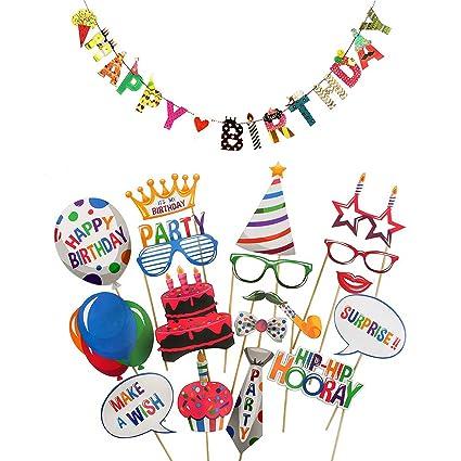 happy birthday banner birthday photo booth props birthday games