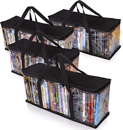 Besti VHS Storage Bags White Protective Video Cassette Organizer for Car Office Portable Movie Tape Case with Strong Carrying Handle and Zipper Home Shelf Stackable with Dividers Cabinet
