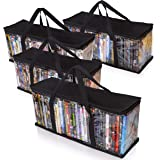 Besti Premium Quality Home DVD Storage Bags (4-Pack) Holds 160 Total Movies or Video Games, Blu-ray, | Convenient Travel Case
