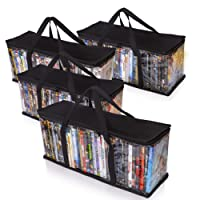 Besti Premium Quality Home DVD Storage Bags (4-Pack) Holds 80 Total Movies or Video Games, Blu-ray, | Convenient Travel Case for Media | Stackable, Easy to Carry