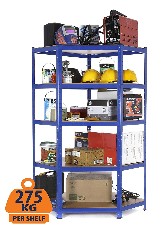 Racking Solutions - Système de stockage d'angle en acier, charges lourdes, rayonnage / étagère coin (5 niveaux 1800mmH x 900mmL x 450mmP) capacité de charge totale 1375kg + Livraison Gratuite