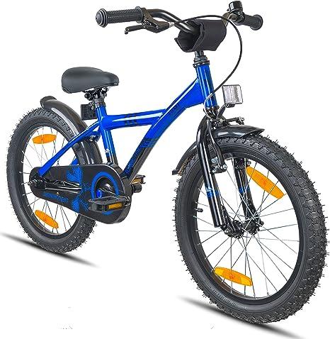 Prometheus Bicicleta Infantil niño y niña | 18 Pulgadas | Azul Negro | A Partir de 6 años | V-Brake y Freno de contrapedal | 18