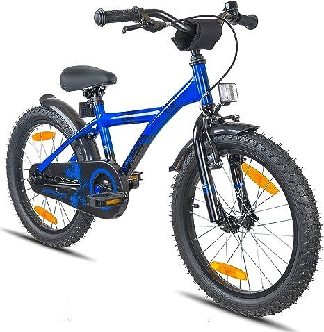 Prometheus Bicicletta Per Bambini E Bambine Dai 6 Anni Nei Colori Blu E Nero Da 18 Pollici Con Freno A V In Alluminio E Contropedale Bmx Da 18