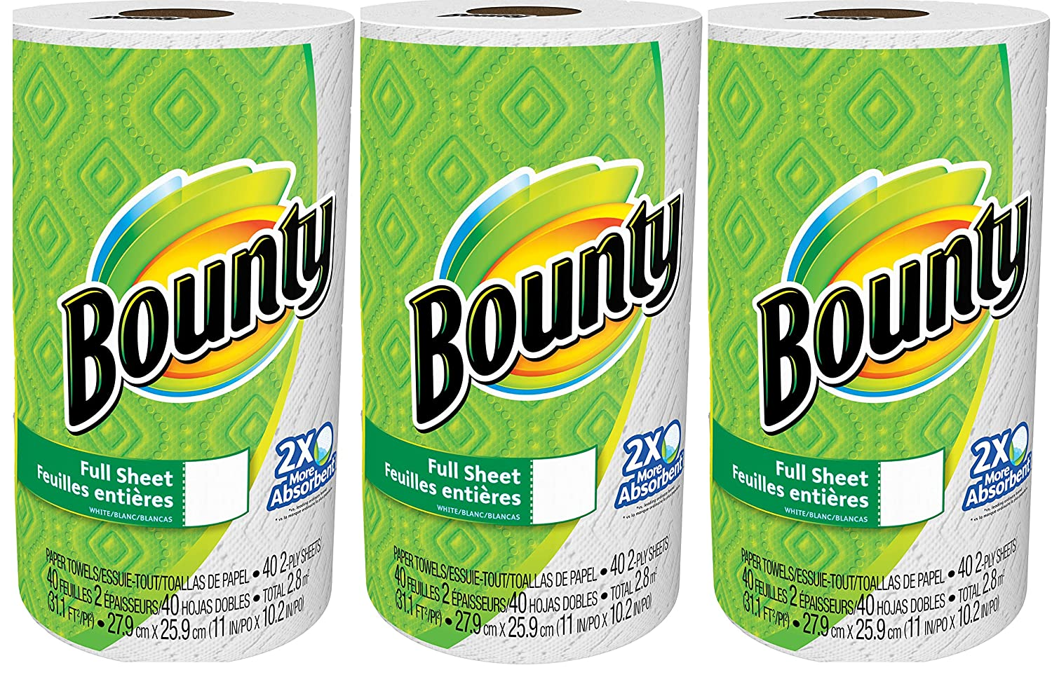 Amazon.com: Bounty Paper Towels, White, 3 Rolls, 40 Sheets Each: Health & Personal Care