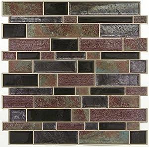 RoomMates TIL4128FLT Modern Long Stone Peel and Stick Tile, brown