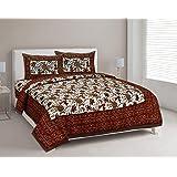 Pure Cotton Bedsheets with Pillow Cover for Double Bed, Rajasthani Bedsheets Double Bed Pillow Covers 220 TTC (Saffron-1)