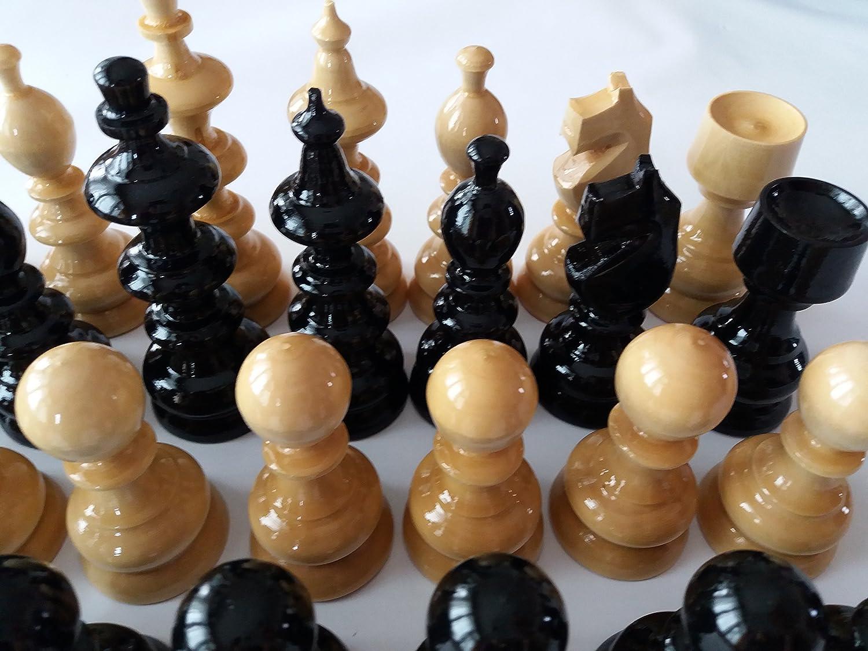 Grand énorme jeu de pièces noir spéciales d'échecs à bois Roi est de 10.7 cm