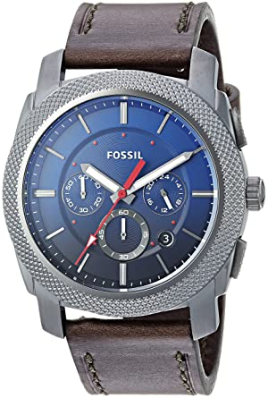 a53a8c15d Fossil Men's Machine Chrono Stainless Steel Quartz Watch with Leather  Calfskin Strap, Grey, 24