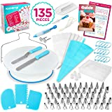 135-Piece Premium Cake Decorating Supplies Kit - Includes Cake Turntable Stand, 55 Numbered Icing Tips, 4 Piping Couplers, 1 Silicone Pastry Bag, 50 Disposable Pastry Bags & Many More Decorating Tools