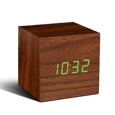 Gingko Cube Walnut Click Clock with Green LED