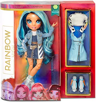 Rainbow Surprise Rainbow High Skyler Bradshaw - Blue Clothes Fashion Doll with 2 Complete Mix & Match Outfits and Accessories, Toys for Kids 4 to 15 Years Old
