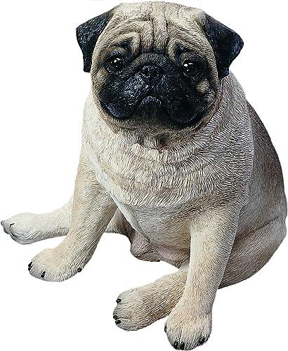 Sandicast Life Size Fawn Pug Sculpture, Sitting
