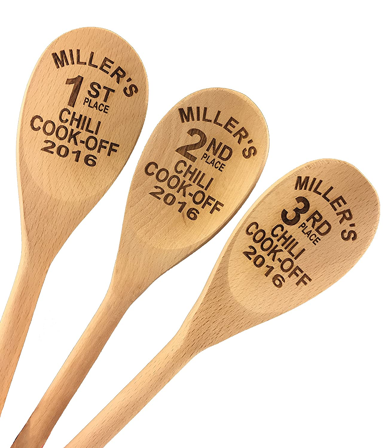 Custom Engraved 14in Bake Off Wood Spoon Prizes (Set of 3) Wedding Collectibles 901003