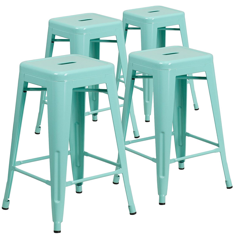 Amazon.com: Flash Furniture 4 Pk. 24\'\' High Backless Mint Green ...