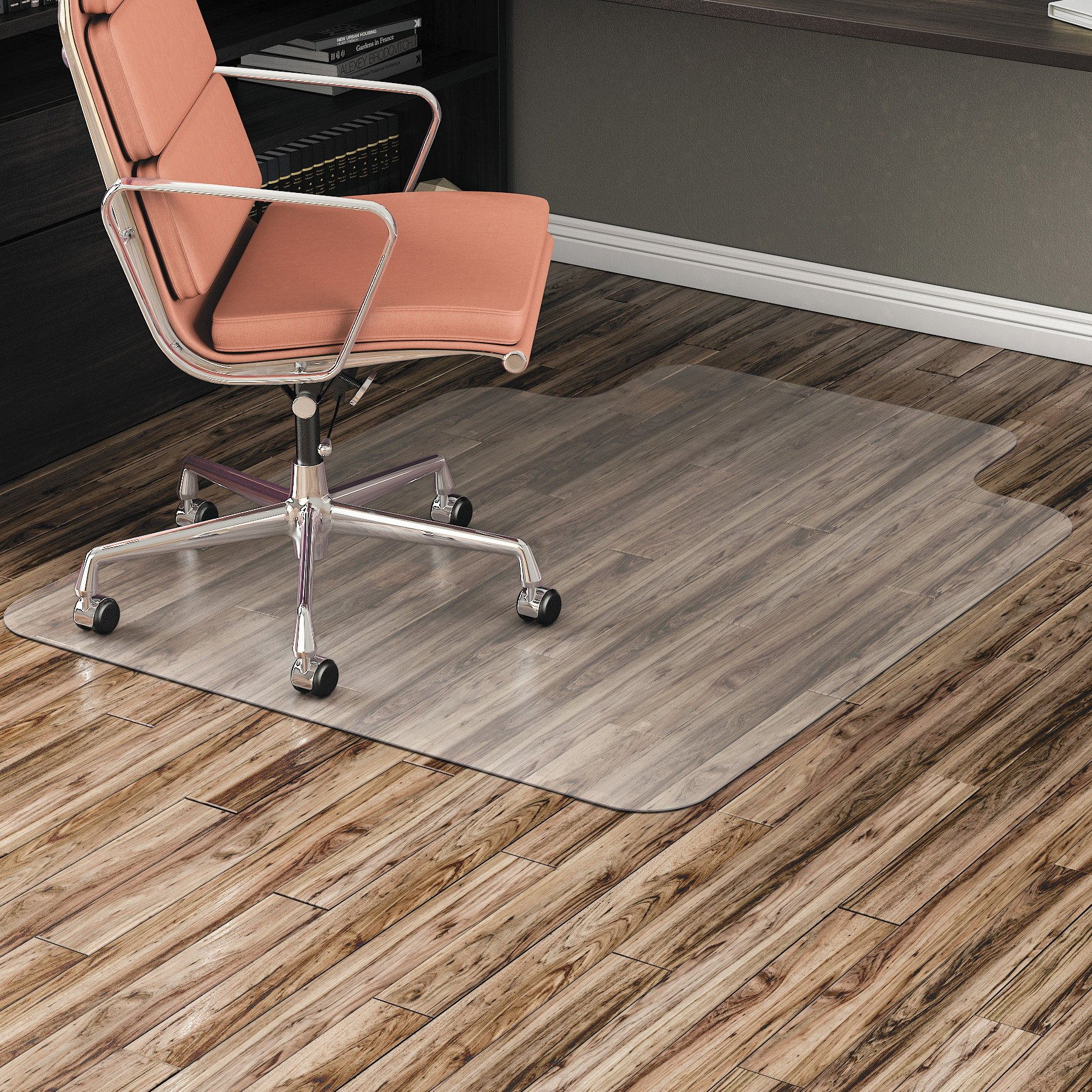 Alera ALEMAT3648HFL Non-Studded Chair Mat for Hard Floor, 36'' x 48'', with Lip, Clear