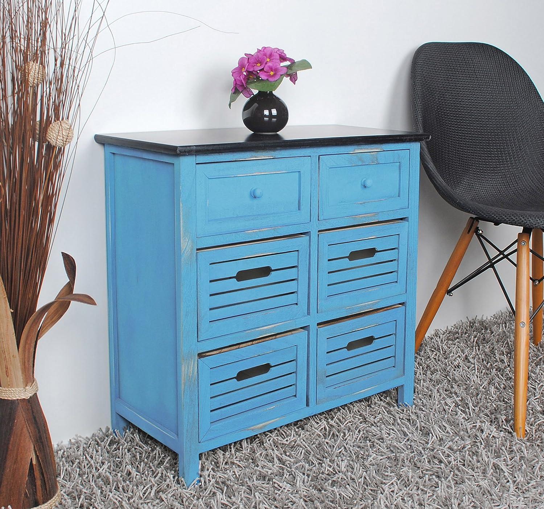 Cómoda shabby con 6 cajones color azul con superficie negra de estilo rústico