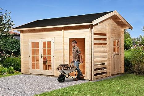 Weka Gartenhaus 150 28 Mm Dt Mit Holzlager Und Gerateraum Amazon De Garten