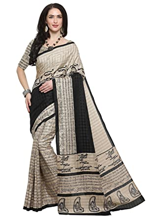 b480678f66 EthnicJunction Art Silk Saree with Blouse Piece (EJ1168-7008_Beige_Free  Size)