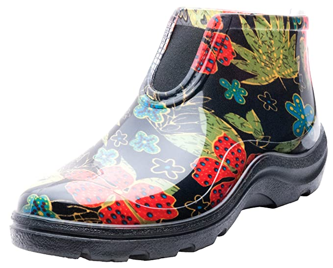 Sloggers Women's Waterproof Rain and Garden Ankle Boots with Comfort Insole, Midsummer Black, Size 8, Style 2841BK08 best women's rainboots