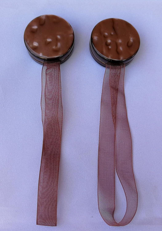 2 pz magneti fermatenda con nastro organza colore madreperle marrone diam. cm. 4 lunghezza cm. 17 SF