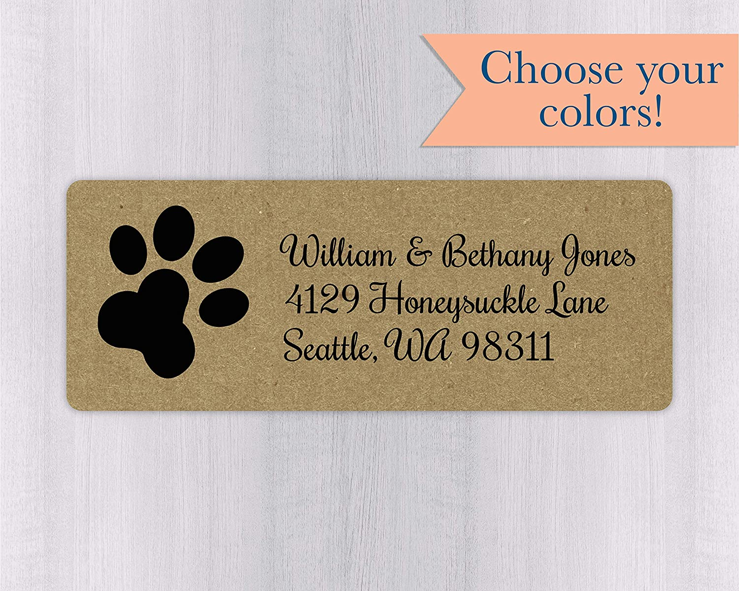 60ct kraft paw print return address labels 351 kr