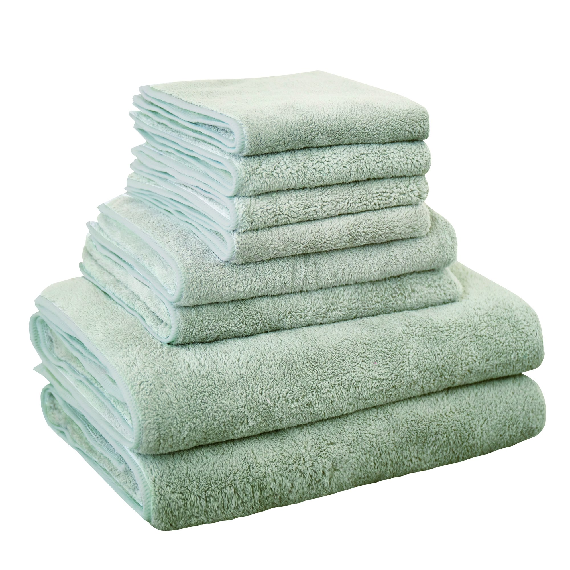 DuShow 8 Piece Towel Set ,2 Bath Towels, 2 Hand Towels and 4 Washcloths - Cotton - Hotel Quality, Eco-Friendly Super Soft and Highly Absorbent (Light Gray)