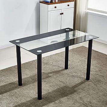 Tavolo da pranzo moderno, in vetro temperato nero ...