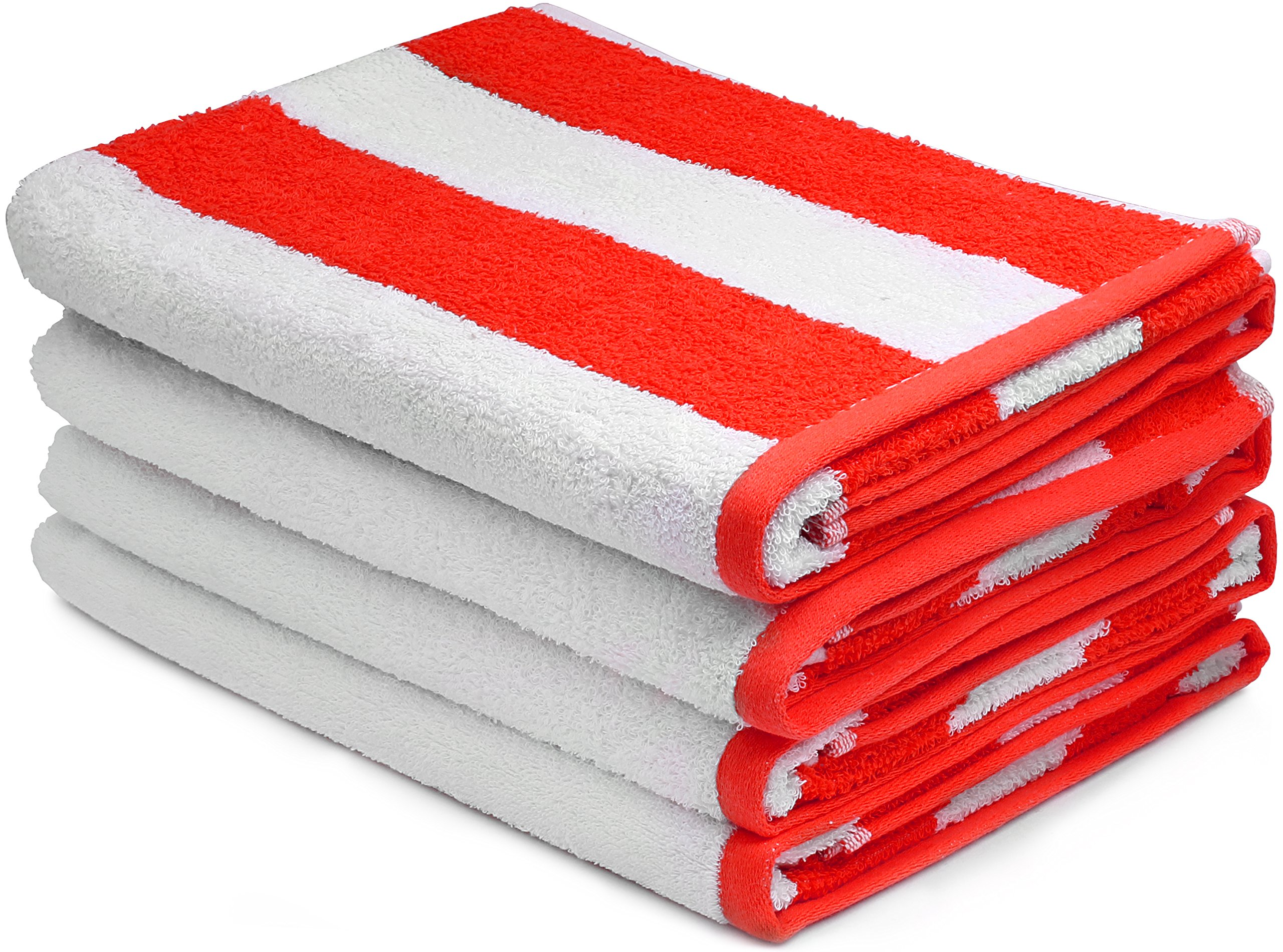 Utopia Towels Large Beach Towel, Pool Towel, in Cabana Stripe - (Red, 4 Pack, 30x60 Inches) - Cotton