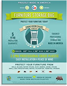 Zero Waste Moving Four Count- Furniture Storage Bags-Dining Room Chair. 3 Mil Thick, Heavy Duty, Professional Grade. Proudly Made in America. Award Winning.