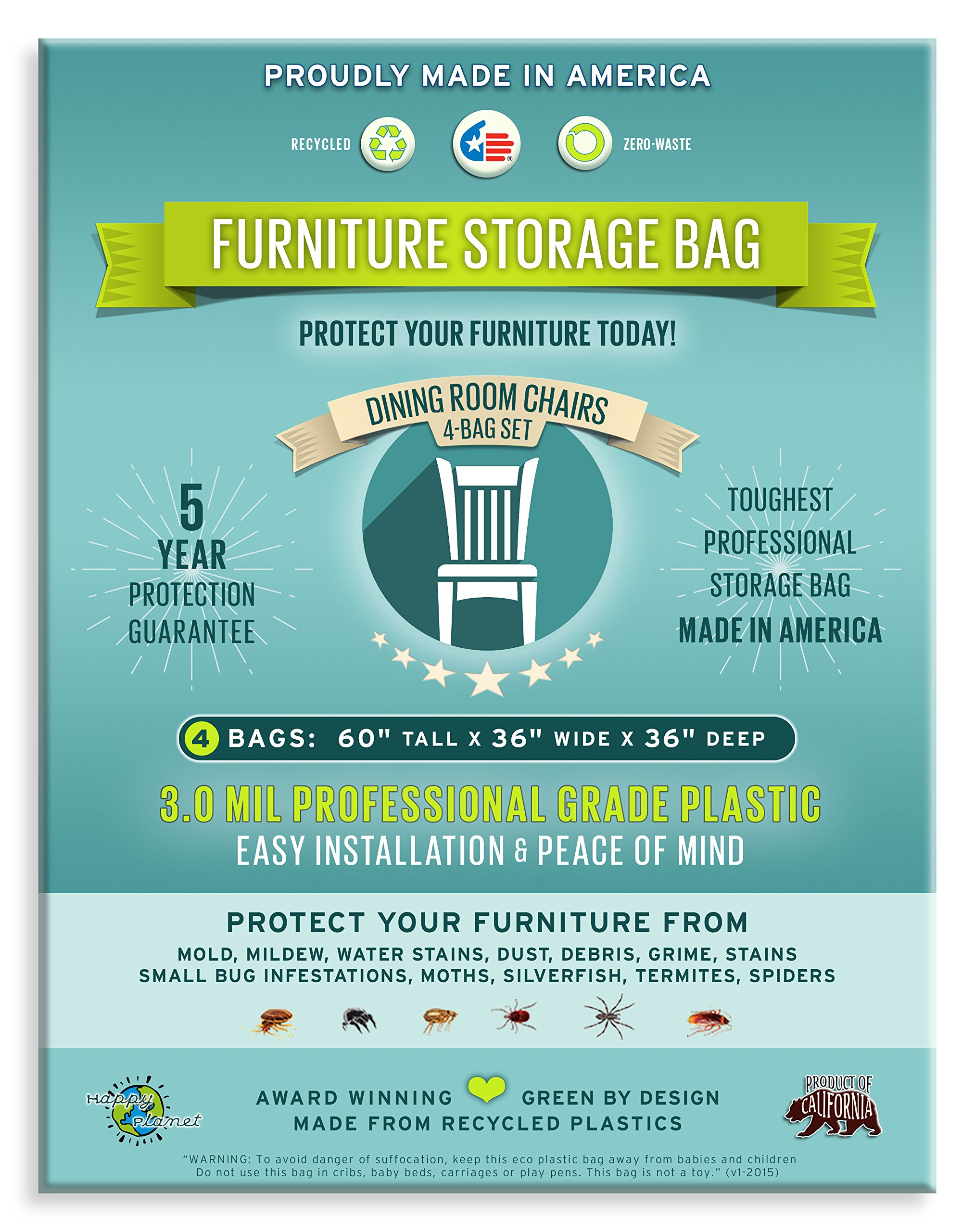Four Count-Furniture Storage Bags-Dining Room Chair. 3 Mil Thick, Heavy Duty, Professional Grade. Proudly Made in America. Award Winning.