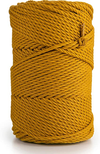 Mustard Yellow Macrame Cord,4mm Cotton Cord For Macrame,Macrame Rope,Mustard Yellow Cotton Rope,Mustard Yellow Macrame Yarn