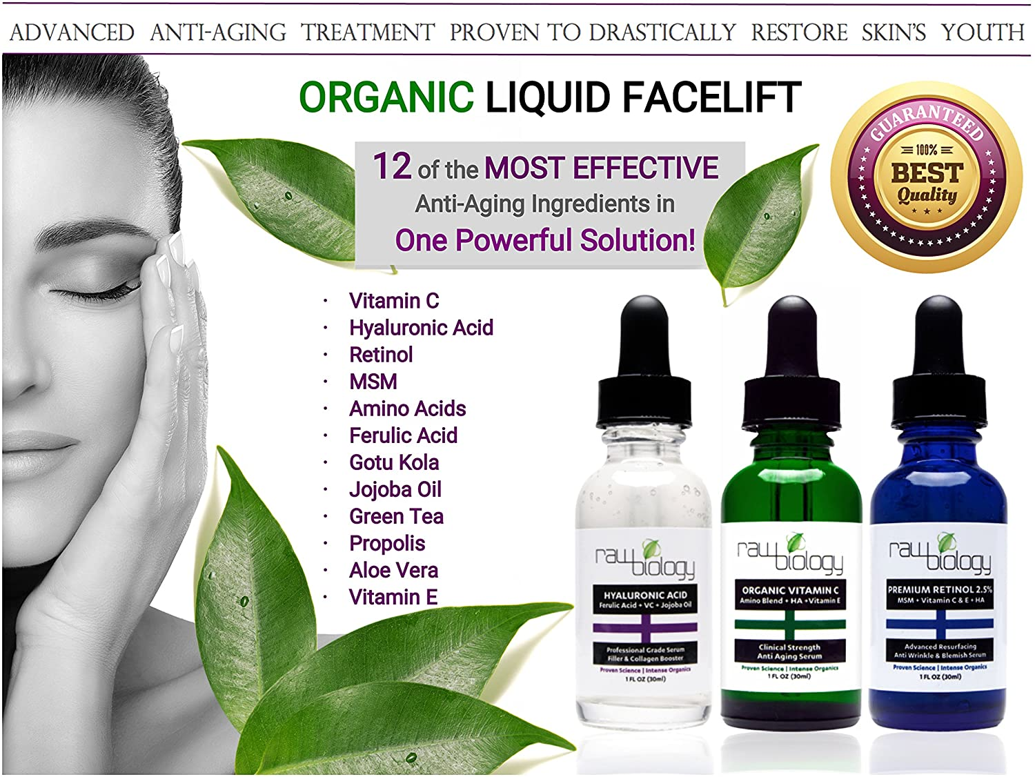 Image of: Random Amazoncom Raw Biology Organic Liquid Facelift With Vitamin Serum Retinol And Hyaluronic Acid For Skin Beauty Daily Mail Amazoncom Raw Biology Organic Liquid Facelift With Vitamin Serum