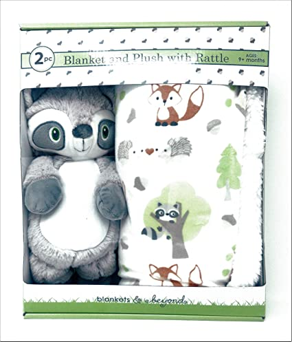 a4c4362947 Buy Blankets And Beyond   Blanket Plush With Rattle - Raccoon Online at Low  Prices in India - Amazon.in