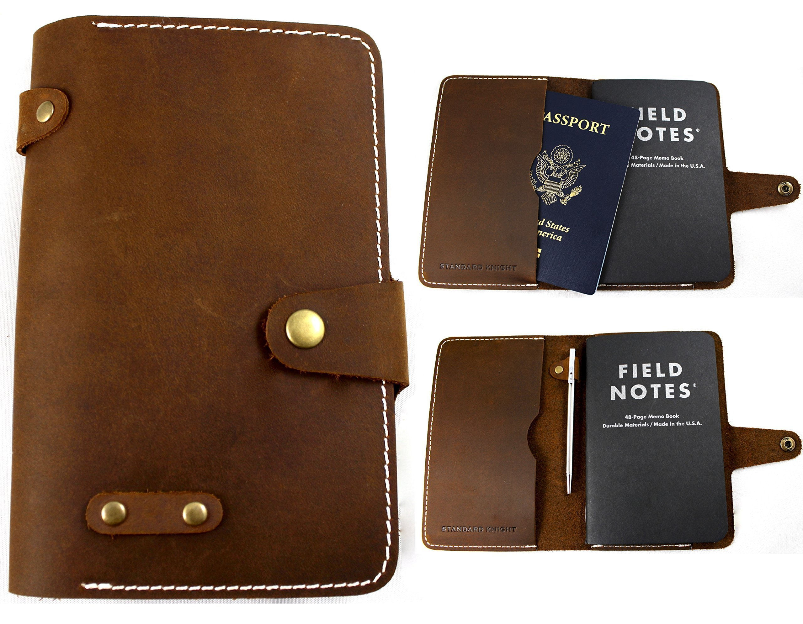 Leather Passport and Field Notes Cover - Made in the USA - Vintage, Minimalist Design - 100% Full-Grain Rustic Crazy Horse Leather - Fits Field Notes, Moleskin Cahier, and Pocket Rhodia by Standard Knight