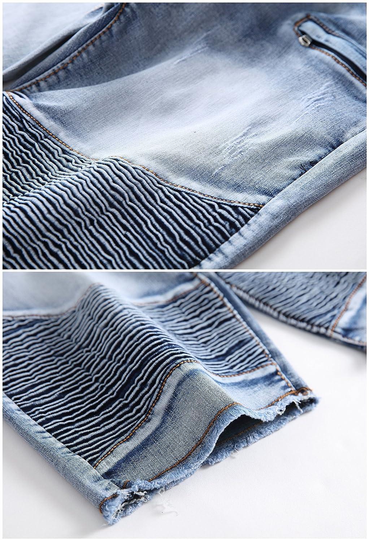 FREDD MARSHALL Mens Fashion Washed Moto Biker Ripped Cropped Zipper Jean Shorts