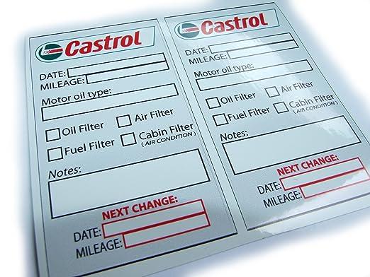 Castrol Oil Change Service Reminder Sticker Set Of 2