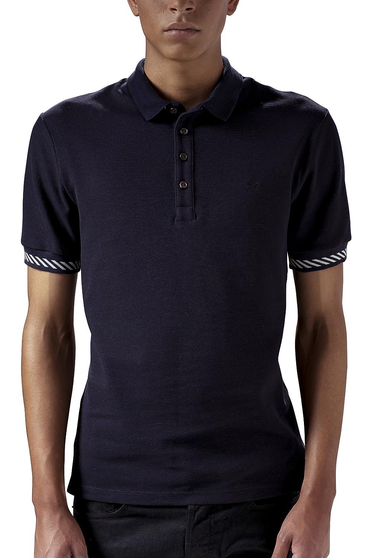 Marteino Mens Slim Fit Ribbed Short Sleeve Polo Shirt